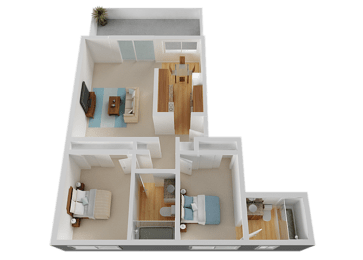 Two Bed Two Bath Floor Plan at Valley West, California