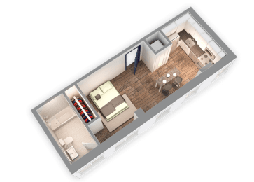 428 SQFT Studio 3D View at Park Heights by the Lake Apartments, Chicago, IL