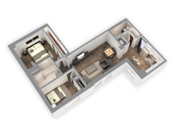 1035 SQFT 2 Bed 1.5 Bath 3D View Floor Plan at Park Heights by the Lake Apartments, Illinois, 60649