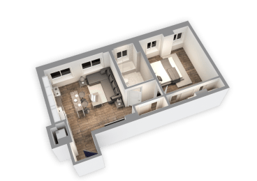 662 SQFT 1 Bed 1 Bath 3D View Floor Plan at Park Heights by the Lake Apartments, Chicago, Illinois