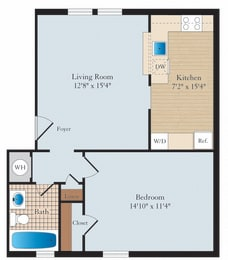1 Bed 1 Bath A04 Floor Plan at Myerton, Arlington, 22204