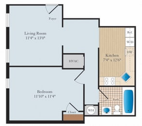 1 Bed 1 Bath A05 Floor Plan at Myerton, Arlington, Virginia