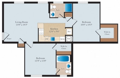 2 Bed 1 Bath B04 Floor Plan at Myerton, Arlington
