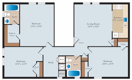 3 Bed 2 Bath C01 Floor Plan at Myerton, Virginia, 22204