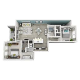 2 Bed 2 Bath Elate Floor Plan at Altis Shingle Creek, Florida, 34746