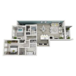 2 Bed 2 Bath Excite Floor Plan at Altis Shingle Creek, Kissimmee, FL