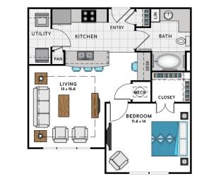 1 Bed 1 Bath A1A Floor Plan at Westside Heights, Atlanta, GA