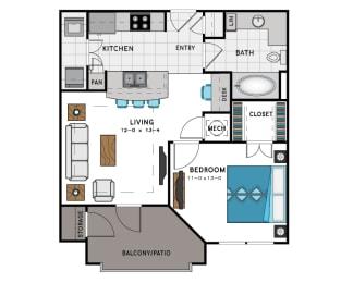 1 Bed 1 Bath A1 Floor Plan at Westside Heights, Atlanta, GA, 30318