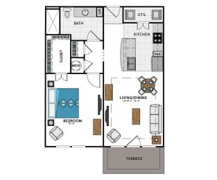 1 Bed 1 Bath A5B Floor Plan at Westside Heights, Georgia, 30318