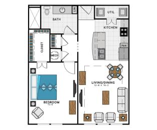 1 Bed 1 Bath A5C Floor Plan at Westside Heights, Atlanta, GA, 30318