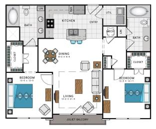 2 Bed 2 Bath B4C Floor Plan at Westside Heights, Georgia, 30318