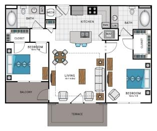 2 Bed 2 Bath B7B Floor Plan at Westside Heights, Georgia