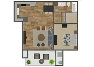 1 Bedroom 1 Bath Floor Plan at Solterra at Civic Center, Norwalk
