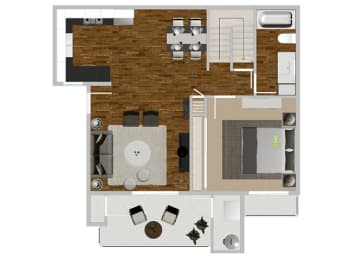 Eucalyptus 2 bedroom 2 bath at Solterra at Civic Center, California, 90650