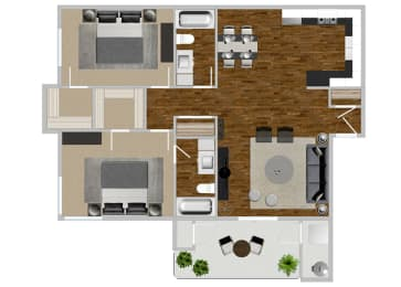 2 Bed 2 Bath Jacaranda Updated Floor Plan at Solterra at Civic Center, Norwalk, CA