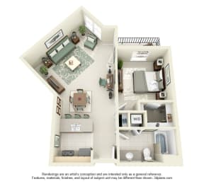 1 Bed 1 Bath 1x1 Floor Plan 776 sq ft at Domaine at Villebois , Wilsonville, OR, 97070