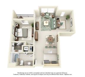 1 Bed 1 Bath 1x1 Floor Plan 785 sq ft at Domaine at Villebois , Oregon, 97070