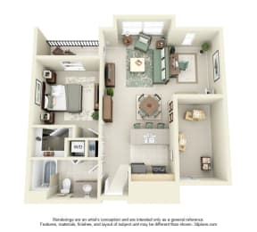 1 Bed 1 Bath 1x1 Floor Plan 814 sq ft at Domaine at Villebois , Oregon