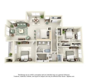 3 Bed 2 Bath 3x2 Floor Plan 1367 sq ft at Domaine at Villebois , Oregon, 97070