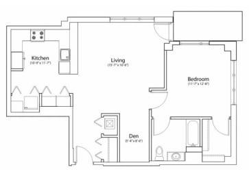 Floor Plan 1X1 914