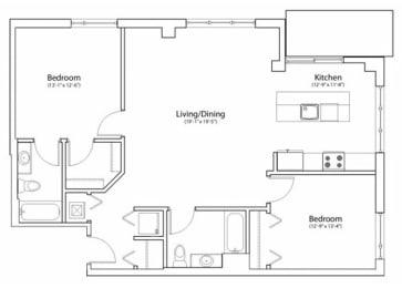 Floor Plan 2X2 1159