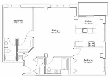 Floor Plan 2X2 1167