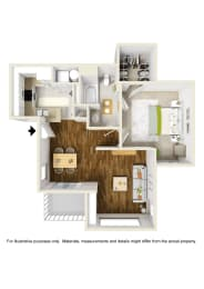 1 Bed 1 Bath 1x1 A Floor Plan at Atwood Apartments, Citrus Heights, California