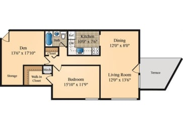 Floor Plan One Bedroom with Den One Bath