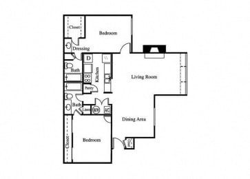 two bedroom floorplan for greenhouse apartments