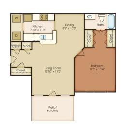 Addison 1 Bedroom 1 Bath Floorplan at Crestmark Apartment Homes, Lithia Springs, GA, 30122, opens a dialog