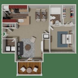 Ashford 1 Bedroom 1 Bath Floorplan at Crestmark Apartment Homes, Lithia Springs, GA