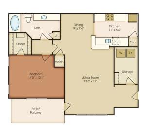 August 1 Bedroom 1 Bath Floorplan at Crestmark Apartment Homes, Lithia Springs, 30122, opens a dialog