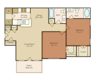 Bellmont 2 Bedroom 2 Bath Floorplan at Crestmark Apartment Homes, Lithia Springs, Georgia, opens a dialog