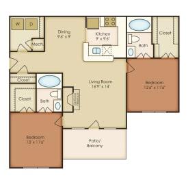 Berkley 2 Bedroom 2 Bath Floorplan at Crestmark Apartment Homes, Lithia Springs, opens a dialog