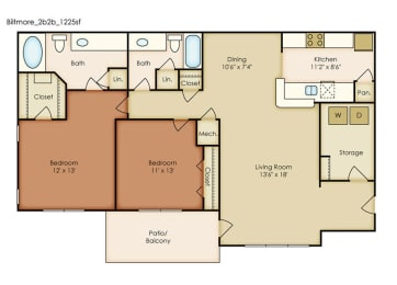 Biltmore 2 Bedroom 2 Bath Floorplan at Crestmark Apartment Homes, Georgia, opens a dialog