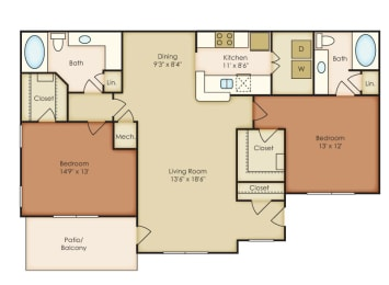 Bradford 2 Bedroom 2 Bath Floorplan at Crestmark Apartment Homes, Georgia, 30122