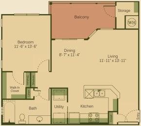 1A Floor Plan at Muir Lake, Cedar Park, Texas