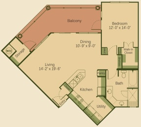 1C Floor Plan at Muir Lake, Cedar Park, 78613