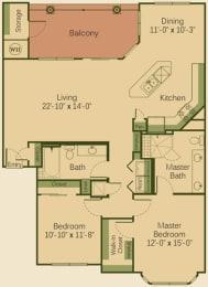 2B3 Floor Plan at Muir Lake, Cedar Park, Texas