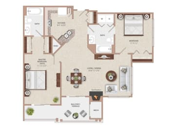 Floor Plan TWO BEDROOM TWO BATH WITH FIREPLACE