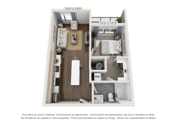 one bedroom floor plan layout for apartments in denver