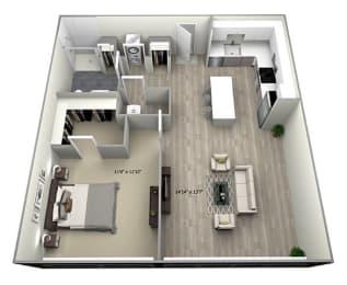 1 Bed 1 Bath TruaA Floor Plan at 735 Truman, Hyde Park, Massachusetts