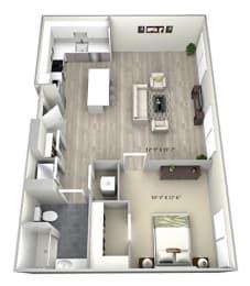 1 Bed 1 Bath TruaC Floor Plan at 735 Truman, Massachusetts
