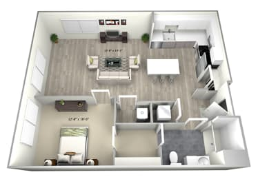 1 Bed 1 Bath TruaG Floor Plan at 735 Truman, Hyde Park, 02136