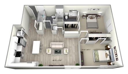2 Bed 2 Bath TrubE Floor Plan at 735 Truman, Massachusetts, 02136