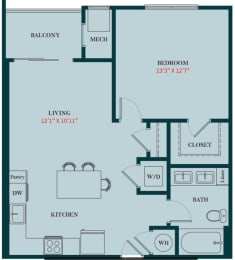 A1 - 1 Bedrooms 1 Bath Apartment Floor Plan Design - 709 sq. ft. - Apartments in Des Plaines