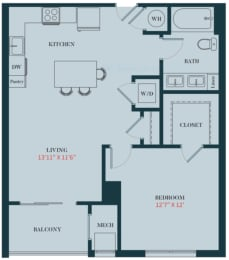 A3 - 1 Bedrooms 1 Bath Apartment Floor Plan Design - 754 sq. ft. - Apartments in Des Plaines