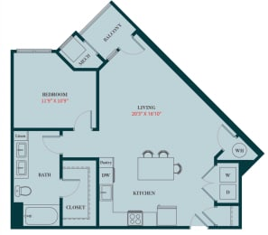A4 - 1 Bedrooms 1 Bath Apartment Floor Plan Design - 792 sq. ft. - Apartments in Des Plaines