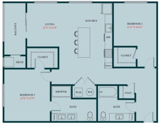 B3 - 2 Bedrooms 2 Baths Apartment Floor Plan Design - 1187 sq. ft. - Apartments in Des Plaines