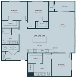 C1 - 3 Bedrooms 2 Baths Apartment Floor Plan Design - 1517 sq. ft. - Apartments in Des Plaines